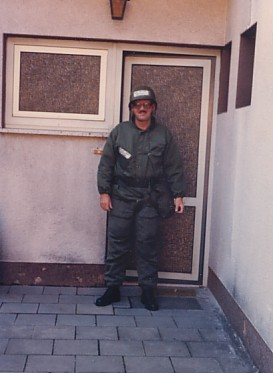 Leaving for work in chemical warfare gear while in Germany -- 1986