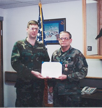 Receiving my first Meritorious Service Medal /  Elmendorf 1995