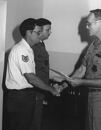 Receiving an award from the Group Commander - 1983