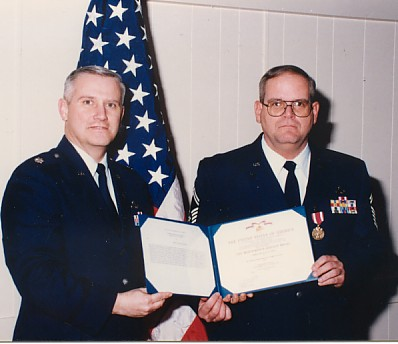 Squadron Commander presenting my Certificate of Retirement